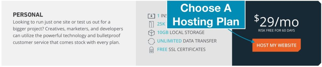 "Choose A Hosting Plan And Click ""Host My Website"""